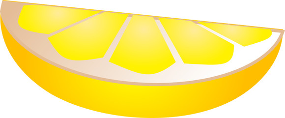 Illustration of a lemon slice, isometric  illustration