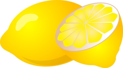 Illustration of a whole lemon and half lemon