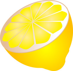 Illustration of a sliced half lemon, isometric  illustration