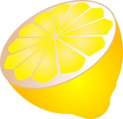 Illustration of a sliced half lemon, isometric  illustration