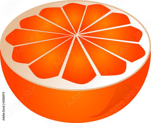 Orange cut in half isomtric illustration color gradient