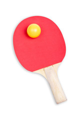Ping pong paddle with soft shadow on white background.
