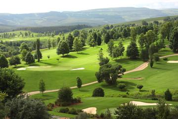 Lush green fairway on a golf estate