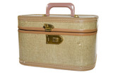 Old antique hand luggage for travel and tourism poster