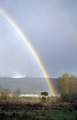 rainbow over mountain landscape in Extremadura, Spain