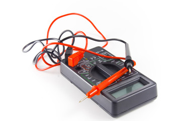 Digital multimeter on white background. Isolated object
