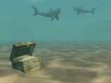 3d sharks floating above a box with treasures poster