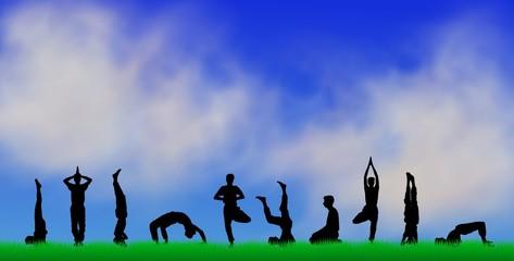 yoga silhouetten - himmel