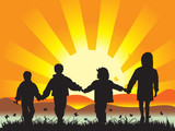 Happy children walk on meadow having joined hands poster