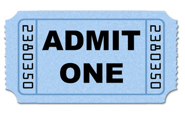 Ticket stub on white back ground isolated