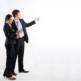 Fototapety Portrait of business people standing on a white background