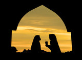 silhouette of islamic woman in a mosque poster