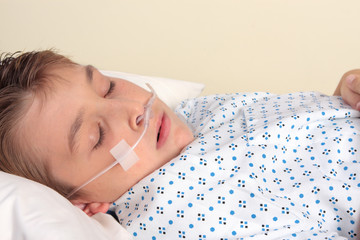 Trauma patient  with nasal cannula.