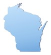 Wisconsin(USA) map filled with light blue gradient