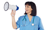 Woman doctor with megaphone a over white background