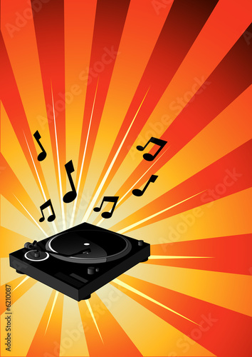 A Dj's turntable on a funky background.