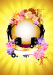 Floral vector background with gold,music and women.