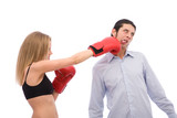 young girl punching a man on white background poster