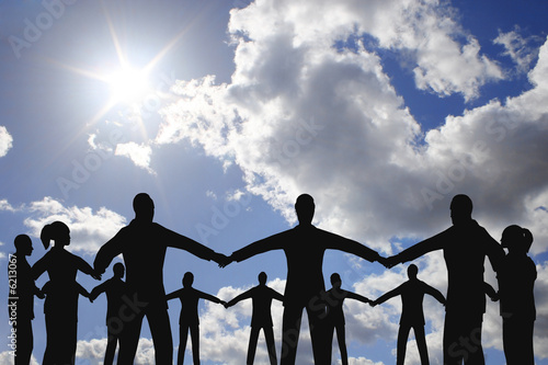 Photo: people circle group on cloud sunny sky © Pavel Losevsky #