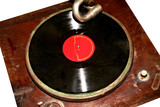 vintage gramophone player with record