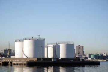 Oil product storage tanks in Aberdeen harbour