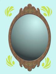 miroir fond bleu