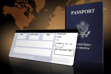 Passport and airline ticket with world map