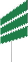 tres letreros verdes