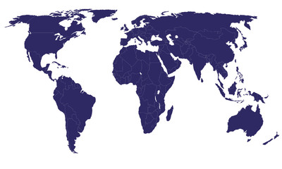 Vector World Map - Africa, America, Asia, Europe and Oceania
