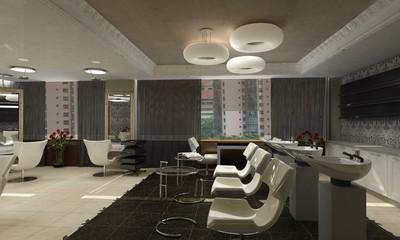 modern interior beauty salon 3D computer rendering