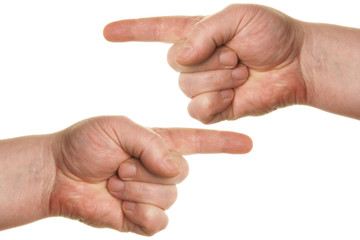 Pointing human hands isolated over white background