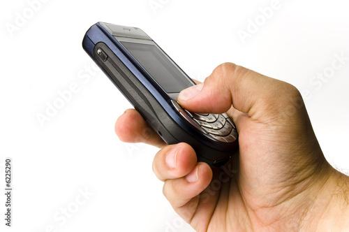 A hand hold a handset