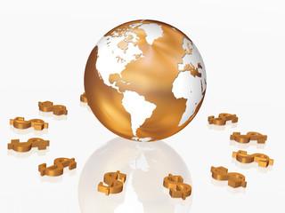 3d golden dollars signs around the golden Globe