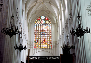 magnificent stained-glass window situated in the cathedral.
