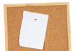 Blank sheet of paper on pin board