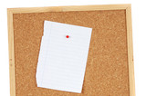 Blank sheet of paper on pin board poster