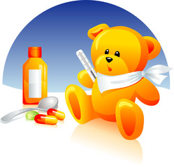 Sick Teddy bear, medical treatment. Thermometer,pills,syrup.