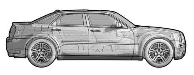 Side view illustration of a Chrysler 300.