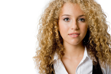A pretty teenage girl with great hair on white background