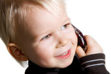 cute kid solving problems over the phone poster