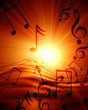 canvas print picture Glowing sunset with musical notes