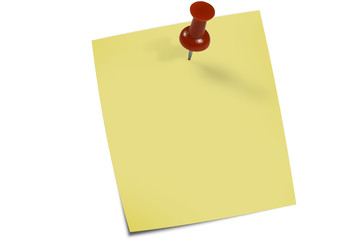 A yellow reminder note with push pin