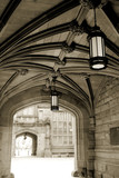 Arch with lamps at Princeton university dorm, New Jersey