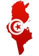 Carte de la Tunisie (Drapeau)