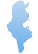 Carte de la Tunisie bleu