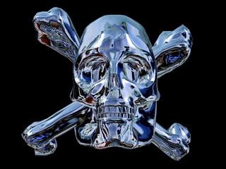 Blau Metallic Totenkopf