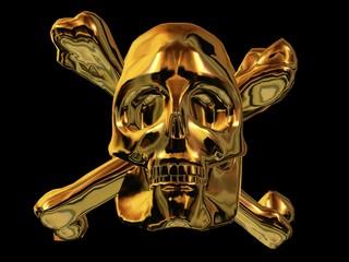 Goldener Totenschädel mit gekreuzten Knochen