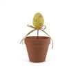 Yellow Easter Egg in Flowerpot