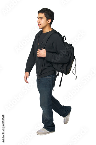 Teen Walking with Backback on a White Background