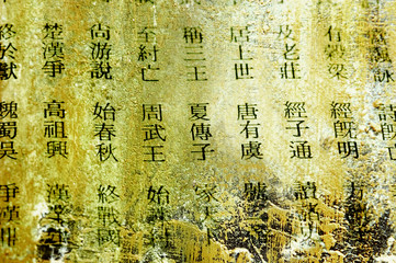ancient chinese words on grunge background